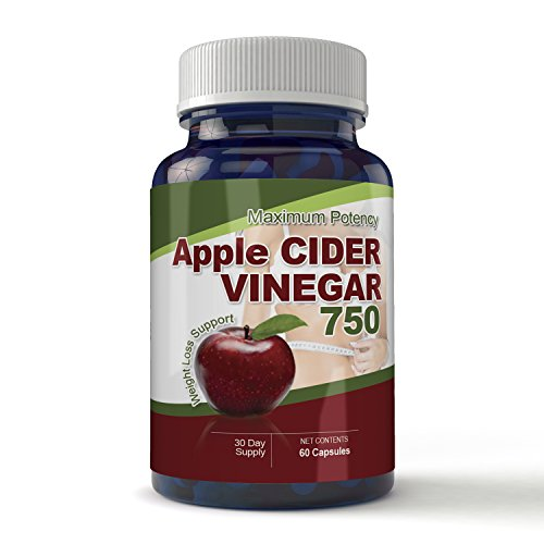 Maximum Potency 750mg Apple Cider Vinegar 60 Capsules – All Natural Weight Loss, Detox, Digestion & Circulation Support – Includes Bonus Diet eBook