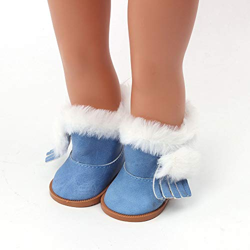 Wensltd Doll Shoes Winter Snow Boot for 18 Inch American Girl Doll Accessory Girl's Toy (Blue)
