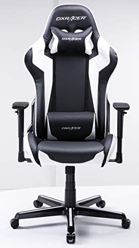 DXRacer USA Formula Series FH00 Gaming Chair Computer Chair Office Chair Ergonomic Design Swivel Tilt Recline Adjustable with Tilt Lock, Includes Headrest Pillow and Lumbar Cushion (White)