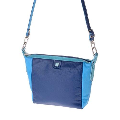 Borsa donna piccola multicolore in pelle Nappa a tracolla DUDU Blu