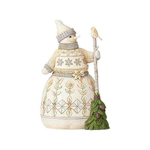 Enesco Jim Shore Heartwood Creek White Woodland Snowman with Broom Figurine 8.5