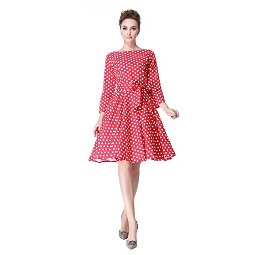 Heroecol 50s 60s Hepburn 3/4 Sleeve Style Vintage Retro Swing Rockailly Dresses Size L Color Red with (Petticoat Dress Red)