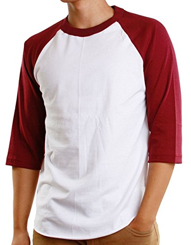 Mens 3/4 Raglan Sleeve Athletic Shirts Casual Tees for Men Baseball T-Shirt, (3X-Large, White/Burgundy)