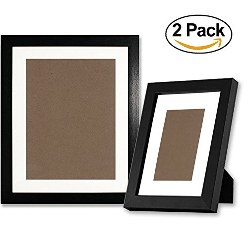Black Picture Frames 5x7 and 8x10 - made of Solid Wood, Both Vertical and Horizontal Supported - Hanging Hardware Included, Display Pictures 8x10 6x8 5x7 3x5