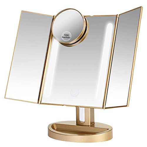Pictures Natural Gold (LEJU Makeup Mirror / Natural Daylight Lighted Vanity Mirror with Touch Screen Dimming, Detachable 10X Magnification Spot Mirror, Two Power Supply Mode (Gold))
