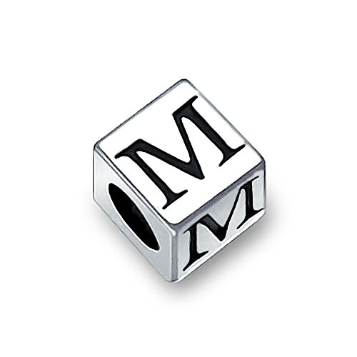 Sterling Silver Block (Bling Jewelry 925 Sterling Silver Block Letter M Alphabet Bead Charm)