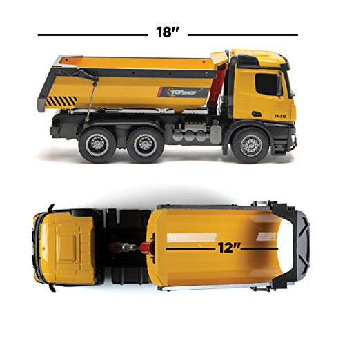 Top Race Remote RC Metal Dump Truck Toy