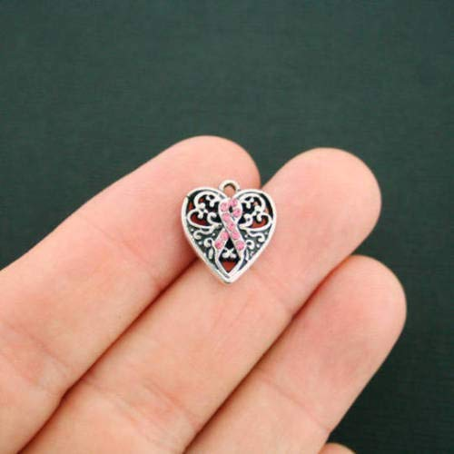 Jewelry Making 2 Breast Cancer Charms Pink Ribbon Awareness with 9 Pink Rhinestones SC2715 Perfect for Pendants, Earrings, Zipper pulls, Bookmarks and Key Chains ()