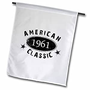 3dRose fl_161775_2 1961 American Classic Birth Year Gift Black Grunge Vintage Look Garden Flag, 18 by 27""