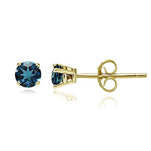 Bria Lou 14k Yellow Gold London Blue Topaz 4mm Round Small Gemstone Stud (Topaz Round Gemstone)