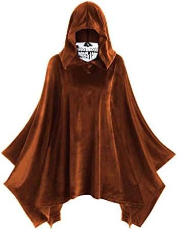 Trench Coats for Women/Men Witch Halloween Skull Mask Hooded Vintage Cloak Asymmetric Drape Shawl Hood Jacket