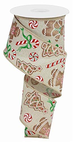 Gingerbread with Candy On Royal Burlap Wired Edged -