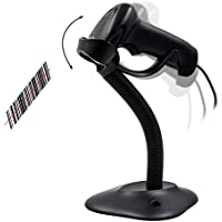 TEEMI TMCT-06 Handheld USB Automatic sensing barcode scanner with Hands Free Adjustable Stand (Black), USB wired, Plug and Play Easy to use