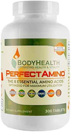 BodyHealth PerfectAmino (300 Tablets) 8 Essential Amino Acids Supplements with BCAA, Increase Muscle Recovery, Boost Energy & Stamina, 99% Utilization, Vegan Branched Chain Protein Pre/Post Workout 1