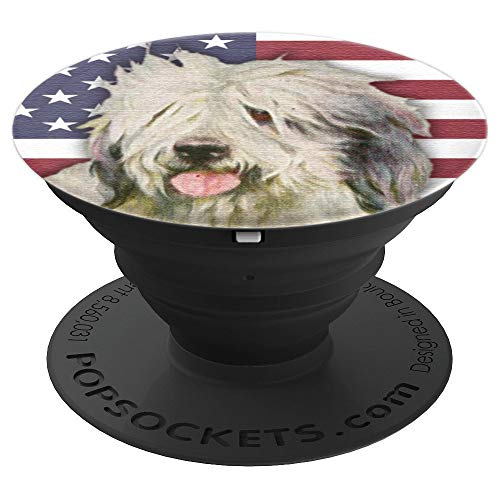 Old English Sheepdog USA Flag - PopSockets Grip and Stand for Phones and Tablets