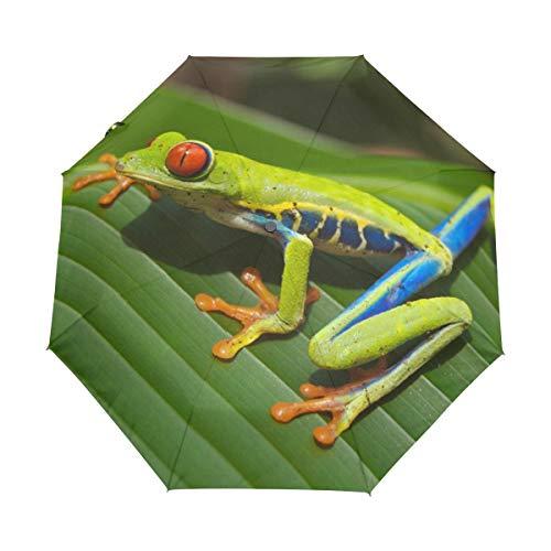 (MONTOJ Colorful Quick Tree Frog Three fold Sun&Rain Travel?Umbrella UV?Protection with Auto Open Button)