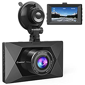 Crosstour Dash Cam 1080P FHD Mini in Car Dashboard Camera with Park Mode, G Sensor, F1.8 Super Big Aperture, 3 Inch LCD, 170°Wide Angle, HDR, Motion Detection, Loop Recording