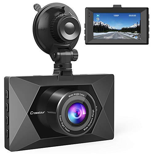 Crosstour Dash Cam 1080P FHD Mini in Car Dashboard Camera with Park Mode, G Sensor, F1.8 Super Big Aperture, 3 Inch LCD, 170°Wide Angle, WDR, Motion Detection, Loop Recording