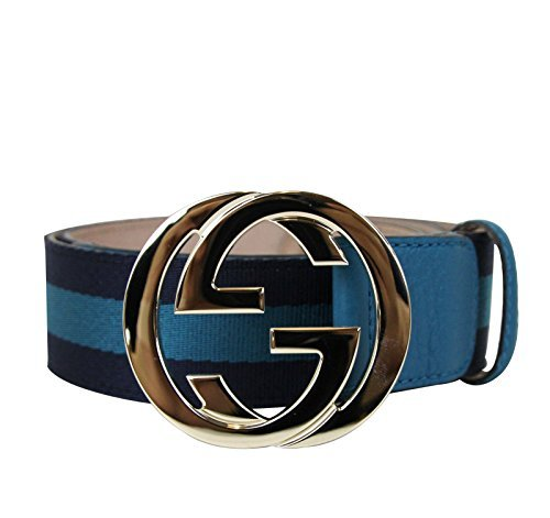 Gucci Women's Blue Webbing Interlocking G Buckle Belt 114876 4174 (90 / 36)