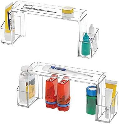 mDesign Small 2-Tier Plastic Medicine Cabinet High-Rise