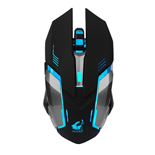 Ounice Silent T1 Wireless Gaming Mouse, 2400DPI USB Optical LED Backlit Mouse for Laptop PC ()