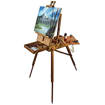Image of Artist Quality French Easel - Portable Art Easel with Storage Sketch Box, French Style Adjustable Painting Easel with Wooden Pallete & Shoulder Strap for Painting and Drawing Art Sets