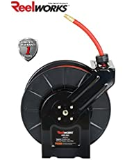 """ReelWorks 28107153A Steel Retractable Air Compressor/Water Hose Reel with 3/8"""" x 50' Hybrid Polymer Hose, Max. 300 psi"""