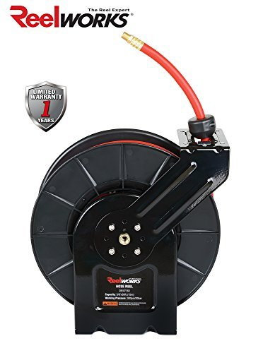 - ReelWorks 28107153A Steel Retractable Air Compressor/Water Hose Reel with 3/8