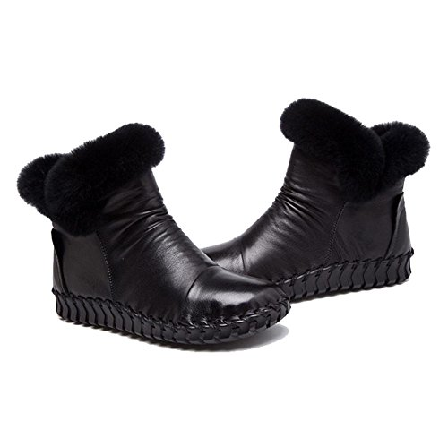 caldo femmina felpa stivali scarpe casuale fatto tacco suole piatto morbido black thicker pelle a cotone mano incinta pigra caviglia zwznBx7tqr