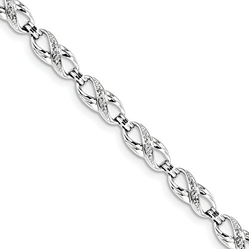 (925 Sterling Silver Diamond Bracelet 7.5 Inch Infinity Fine Jewelry Gifts For Women For)