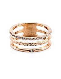 Pure316 - Women's Triple Layer Pave Set CZ Ring in Rose Gold Plated 316L Stainless Steel - JKR-203W-6