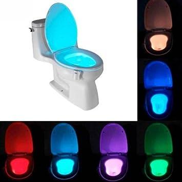 Luz LED iluminación 8 colores Water cepillo para inodoro taza baño Sensor Movimiento