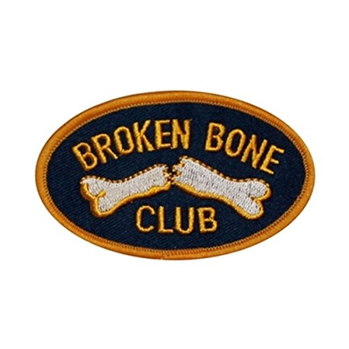 Broken Bone Club Badge Patch Fractured Break Member Embroidered Iron On Applique