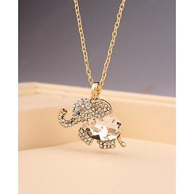 JEW JEWLY Fashion Long Elephant Crystal Imitation Diamond Gold Plated Korea Necklace for Women In Jewelry