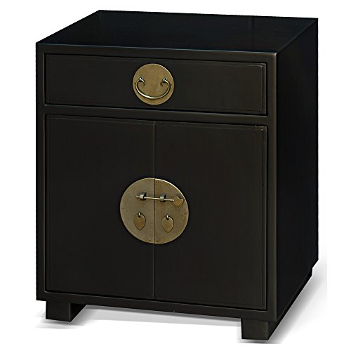 (ChinaFurnitureOnline Elmwood Cabinet, Ming Style End Cabinet or Lamp Cabinet in Matte Black Finish)