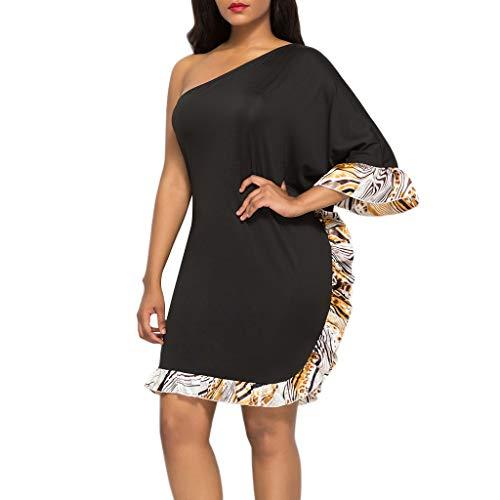 Toimothcn Womens One Shoulder Ruffled Sleeve Splice Irregular Party Club Dress Plus Size(Black,M)