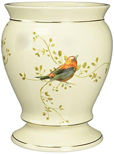 Avanti Linens Gilded Birds Waste Basket, Ivory (Decorative Bath Accessories)