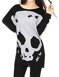 Allegra K Women's Long Sleeves Skull Stars Loose Tunic Shirt