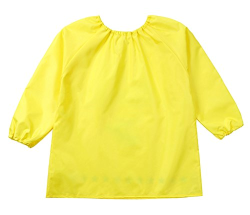 Kids Multifunctional Painting Smock Cute Plane Printing Children's Waterproof Pullover Long Sleeve Bib with Pocket Drawing Apron Yellow 4-6 T by DAWNTUNG (Image #6)