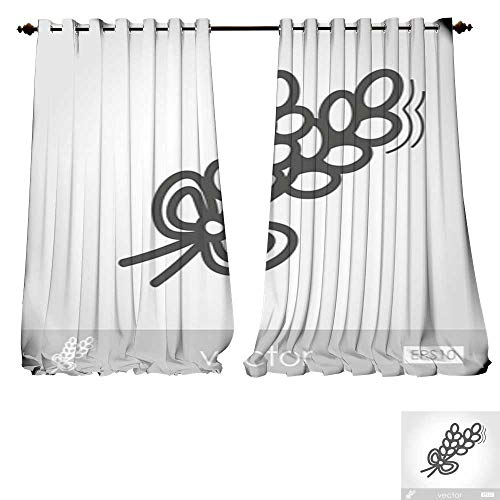Wheat 4 Chandelier Light (DESPKON-HOME Decor Curtains by Spikelets Wheat Outline icon Harvest Thanksgiving Adjustable Tie Up Shade Rod Pocket Curtain -W84 x L108/Pair)