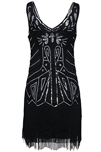 [BABEYOND Women's Flapper Dresses 1920s V Neck Beaded Fringed Great Gatsby Dress (Medium, Black)] (Flappers 1920)