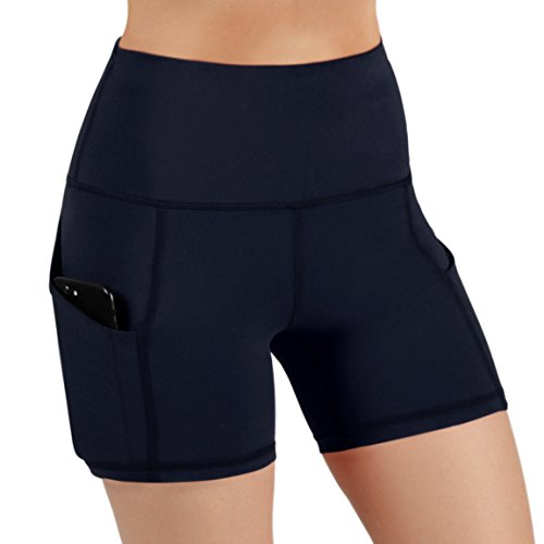 ODODOS High Waist Out Pocket Yoga Short Tummy Control Workout Running Athletic Non See-Through Yoga Shorts,Navy,X-Large