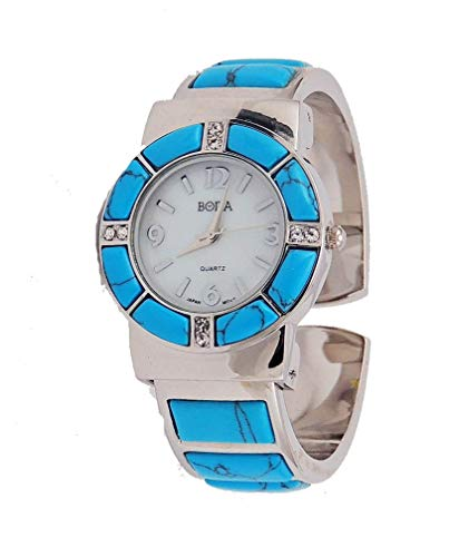 Bora Turquoise Watch Cuff Inlay Style with Crystal ()