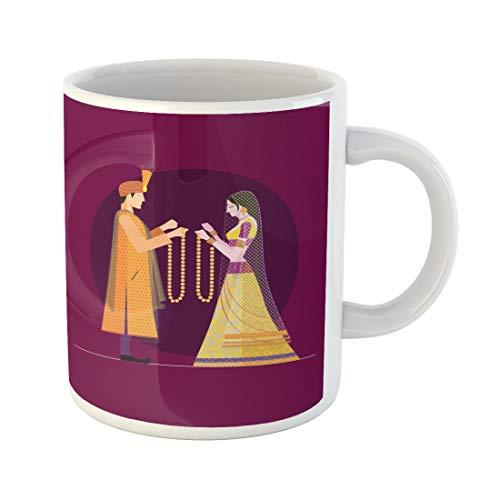 (Emvency Funny Coffee Mug Indian Wedding Bride and Groom Hindu India Beautiful Woman Celebration Ceremony 11 Oz Ceramic Coffee Mug Tea Cup Best Gift Or Souvenir)