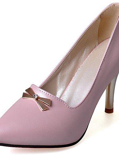 BGYHU GGX/Damen Heels Sommer/Herbst Heels/spitz Zehen PU Office & Karriere/Casual Stiletto-Absatz Aufnäher blau/pink pink-us7.5 / eu38 / uk5.5 / cn38
