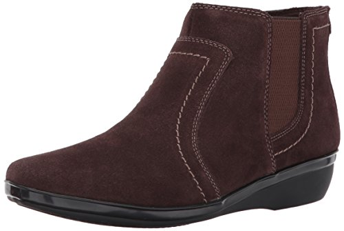 CLARKS Womens Everlay Leigh Ankle Bootie, Dark Brown Suede, 5.5 M US