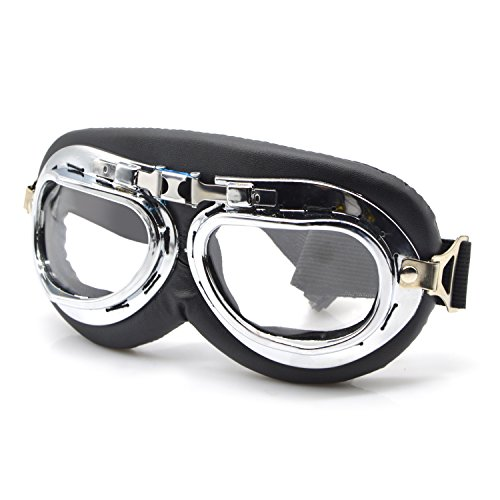 Clear Motorcycle Riding Goggles/Outdoor Bike Bicycle Cycling Googles/Outside Tactical Googles/Dust-Proof Windproof Protective Googles/Anti UV Adjustable Cycling Googles w/PC strengthened Lens
