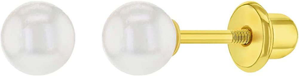 Pendientes de bebé chapados en oro de 18 quilates con perlas de imitación de color blanco