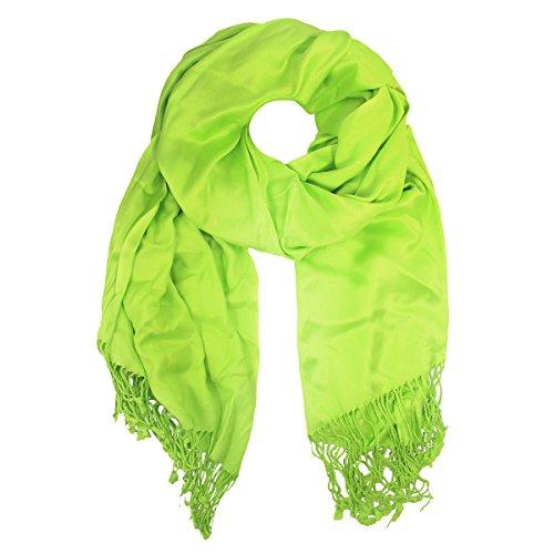 Jones New York Women's Luxury Satin Solid Pashmina Wrap Scarf, Lime Crush Green