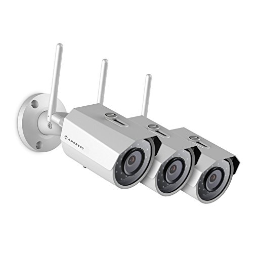 3-Pack Amcrest ProHD Outdoor 3-Megapixel 2304 x 1296P WiFi Wireless IP Security Bullet Camera – IP67 Weatherproof, 3MP 1080P 1296P , IP3M-943W White